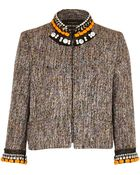 River Island Orange Boucle Embellished Jacket - Lyst