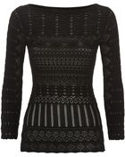 Roberto Cavalli Chevron Knit Cold Shoulder Sweater - Lyst