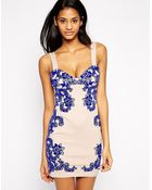 Asos Flocked Placed Pencil Dress - Lyst