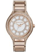 Michael Kors Mid-Size Rose Golden Stainless Steel Kerry Three-Hand Glitz Watch - Lyst