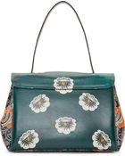 Valentino Green And Orange Floral Top Handle Bag - Lyst