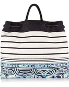 Emilio Pucci Printed Canvas And Braided Leather Tote - Lyst