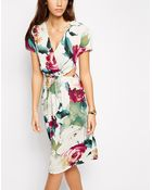 Love Floral Print Midi Dress With Cut Out Detail - Lyst