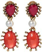 Oscar de la Renta Red Cabochon Teardrop Earrings - Lyst