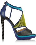 Jimmy Choo Lythe Honeycomb Leather And Suede Sandals - Lyst