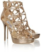 Jimmy Choo Blast Glitterfinished Patentleather Sandals - Lyst