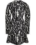 Proenza Schouler Flock Printed Crepe Suiting Moire Long Sleeve Dress - Lyst
