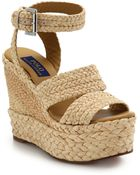 Polo Ralph Lauren Ethel Raffia Wedge Sandals - Lyst