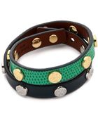 Tory Burch Double Wrap Logo Stud Bracelet - Black/New Ivory/Shiny Brass - Lyst