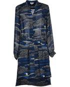 Kenzo Multicolor Pattern Crêpe Dark Blue Short Dress - Lyst