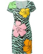 Moschino Floral And Zebra Print Dress - Lyst