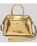 Milly Crossbody - Gold Croc-Embossed Small Satchel - Lyst