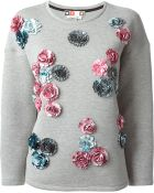 MSGM Embroidered Floral Detail Sweatshirt - Lyst