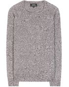 A.P.C. Teenage Marl Cotton and Flax-Blend Sweater - Lyst