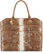 Armenta Python-Print Wool Tote Bag - Lyst