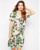 Ganni Drop Waist Dress In Bold Flower Print - Lyst