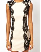 Little Mistress Bodycon Dress With Lace Panels - Lyst