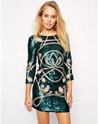 Needle & Thread Contour Ornate Long Sleeve Dress - Lyst