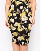 Asos Curve Co-Ord Pencil Skirt In Yellow Rose Print - Lyst