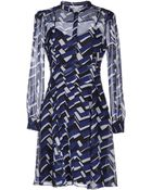 Diane von Furstenberg Sheer Silk Long-Sleeves Printed Short Dress - Lyst