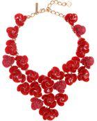 Oscar de la Renta Resin Swirl Flower Necklace - Lyst