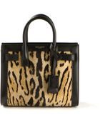 Saint Laurent Baby Sac De Jour Bag In Black Leather And Pony Leopard Printed - Lyst