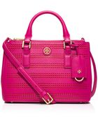 Tory Burch Robinson Perforated Micro Double-Zip Tote - Lyst