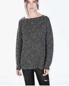 Zara Two-Tone Boat Neck Sweater - Lyst