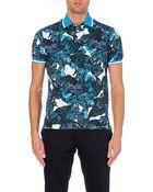 Etro Floral-Print Cotton-Piqué Polo Shirt - For Men - Lyst