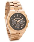 Michael Kors Reagan Watch - Rose Gold/Navy - Lyst