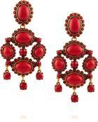 Oscar de la Renta Gold-Tone Cabochon Earrings - Lyst