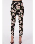 Missguided Georgiina Belted Rose Print High Waist Trousers Black - Lyst