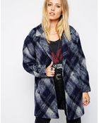 Pepe Jeans Wool Checked Coat - Lyst