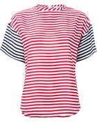RED Valentino Striped Back Zip Blouse - Lyst
