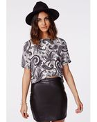 Missguided Vaniah Monochrome Paisley Print Split Side Shell Top - Lyst