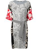 Etro Mixed-Print Silk Dress - Lyst