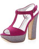 Pelle Moda Yvaine Tstrap Glitter Sandal Cerise - Lyst