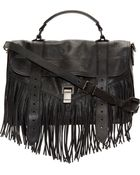 Proenza Schouler Black Luxe Leather Fringed Medium Ps1 Satchel - Lyst