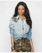 Denim & Supply Ralph Lauren Chambray Flagprint Snapfront Western Shirt - Lyst