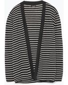 Zara Striped Open Cardigan - Lyst