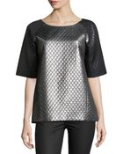 Michael Kors Quilted Laminated Colorblock Tunic - Lyst