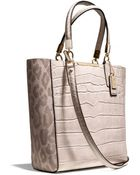 Coach Madison Mini Northsouth Bonded Tote in Ocelot Fabric - Lyst