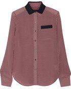 Theory Rogene Geometricprint Silkcrepe Shirt - Lyst