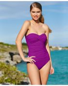 La Blanca Ruched Bandeau One-Piece Swimsuit - Lyst