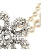 Miu Miu Pearl Necklace with Crystalembellished Flower - Lyst