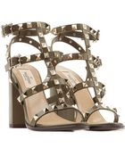 Valentino Rockstud Block Heel Leather Sandals - Lyst