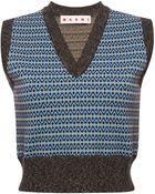 Marni Sleeveless V-Neck Jacquard Knit - Lyst