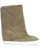 Casadei Blade Suede Wedge Boot - Lyst