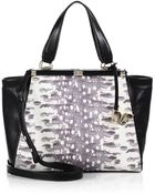 Diane von Furstenberg 440 Large Snake-Embossed Leather Shoulder Tote - Lyst