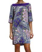 Versace Collection Dress Sleeve 3/4 Silk Printed Intreccio - Lyst